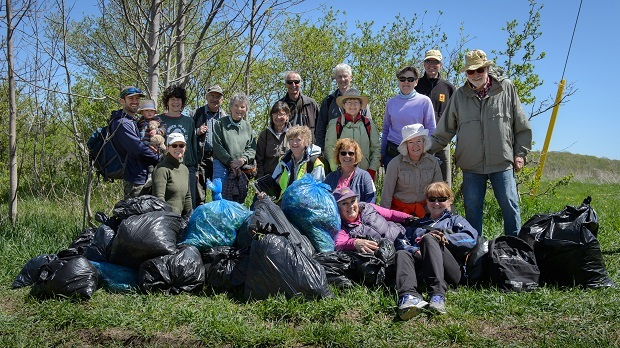Volunteers and their efforts from the Garlic Mustard Pull in Loree Forest May 2017. Photo credit: Mike Arkless.