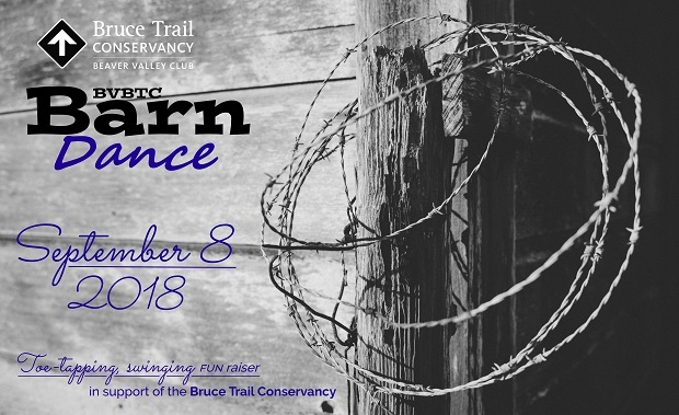 Beaver Valley Bruce Trail Barn Dance September 8. A toe-tapping swinging fun raiser in support of the Bruce Trail Conservancy.