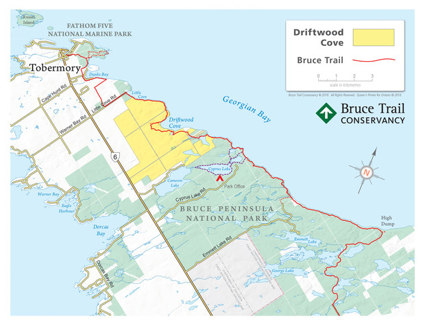 Driftwood Cove Map_Bruce Trail from Tobermory to High Dump_webfinal