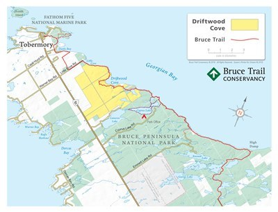 Driftwood Cove Map_Bruce Trail from Tobermory to High Dump_webfinal 400