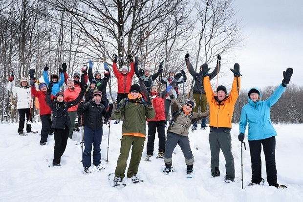 Snowshoe Adventure Badge hikers of the Beaver Valley Bruce Trail Club. Photo credit Mike Arkless 2017.