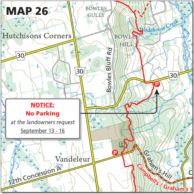 Map marking Bruce Trail parking lot at Bowles Hill as closed from September 13 through 16 2019