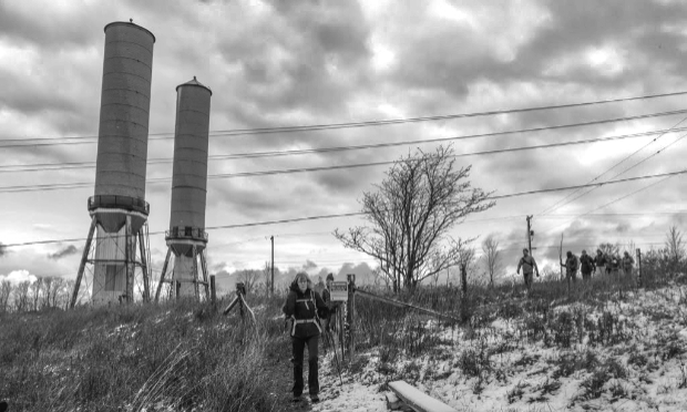 Bruce Trail Falling Waters Trail end-to-end hikers pass beside the OPG surge towers in Eugenia. Photo Galina Szlapetis 2019