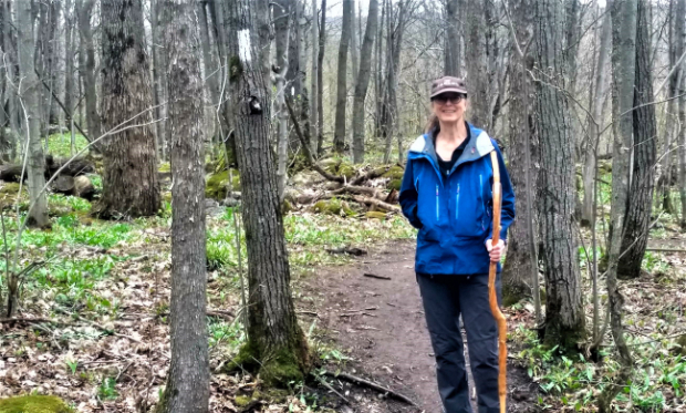 Beaver Valley Club 2020 Volunteer of the Year with ceremonial walking stick